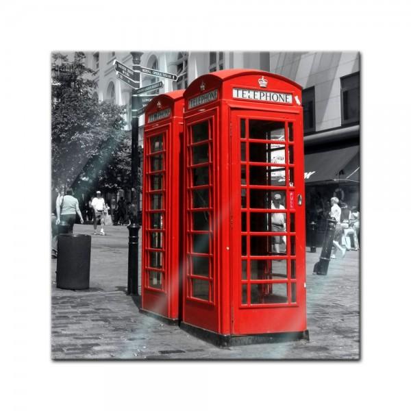 Glasbild - Rote Telefonzelle in London