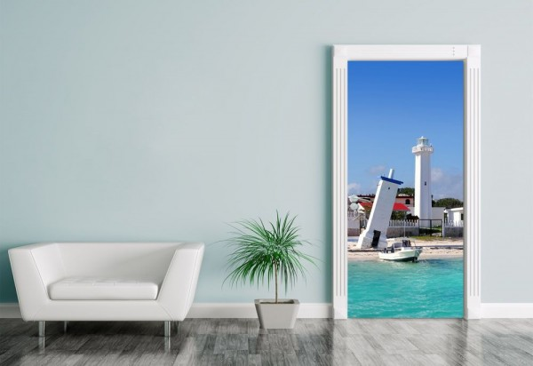 Türaufkleber Leuchtturm in Puerto Morelos Mayan Riviera - Mexiko