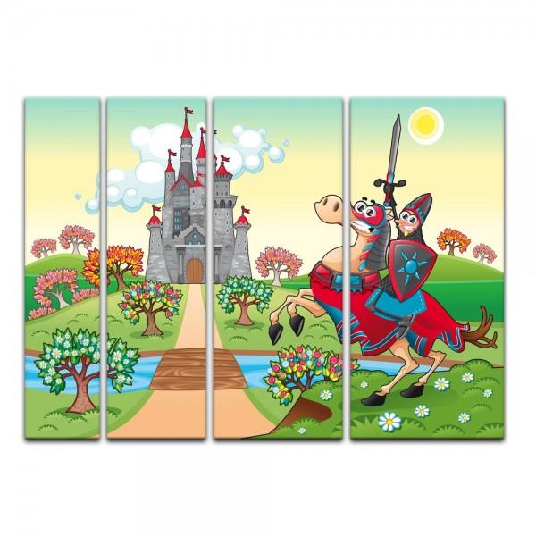 Leinwandbild - Kinderbild - Ritter vor einer Burg