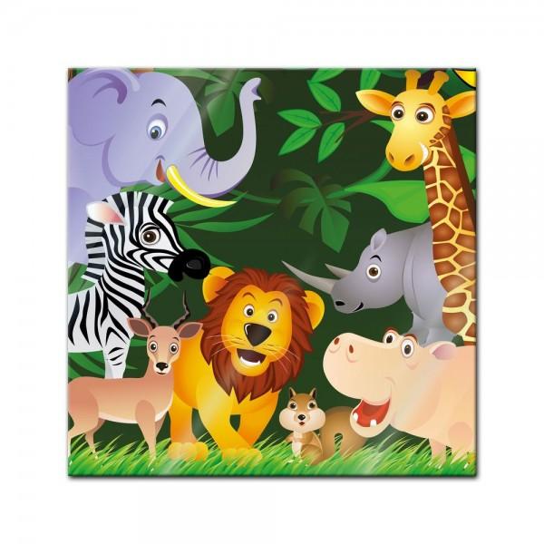 Glasbild - Kinderbild - Lustige Tiere im Dschungel - Cartoon