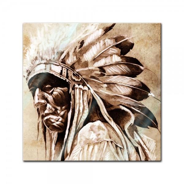 Glasbild - Indianer im Vintage Style