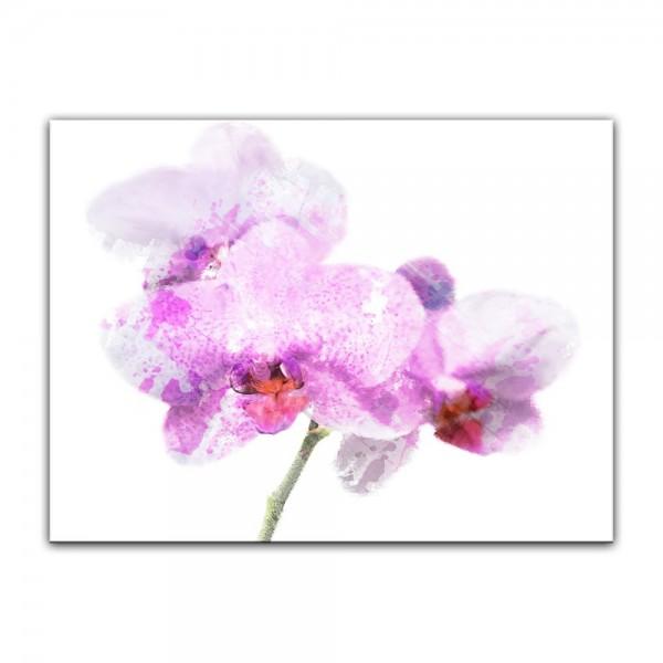 Leinwandbild - Aquarell - Lila Orchidee