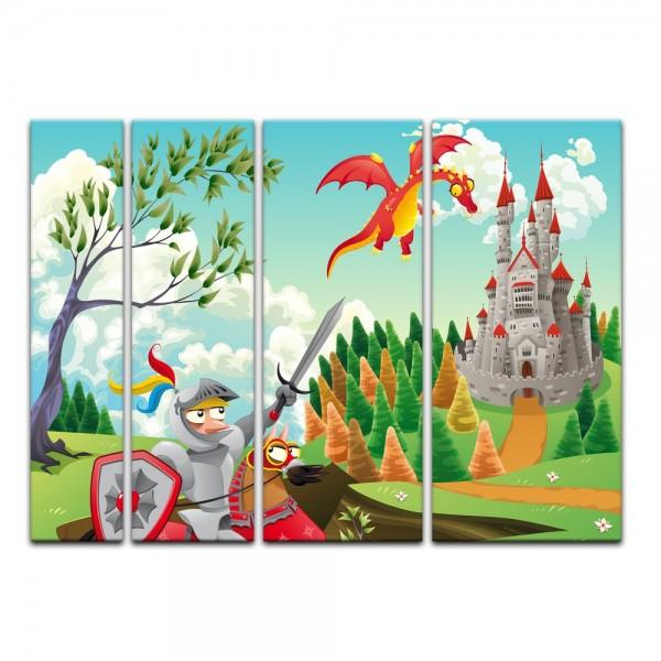 Leinwandbild - Kinderbild - Ritter und Drachen