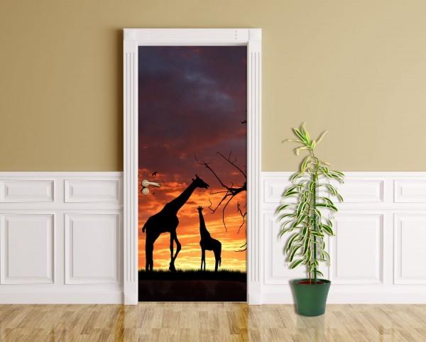 Türaufkleber - Giraffen im Sonnenuntergang