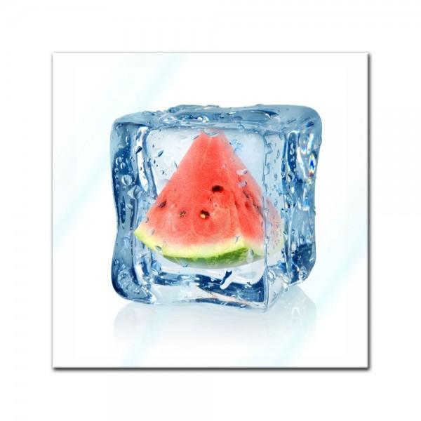 Glasbild - Eiswürfel Wassermelone