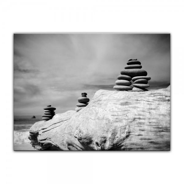 Leinwandbild - Zen Steine - schwarz weiß