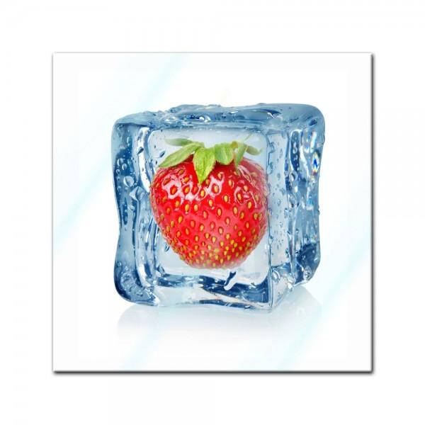 Glasbild - Eiswürfel Erdbeere