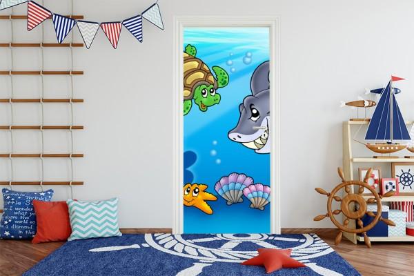 Türaufkleber - Kinderbild Unterwasser Tiere