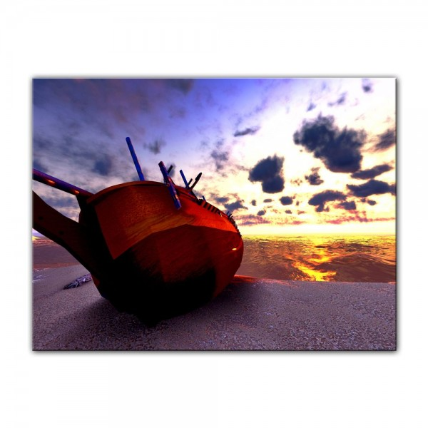 Leinwandbild - Boot am Strand