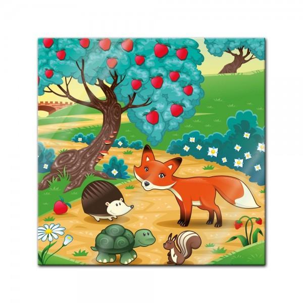 Glasbild - Kinderbild Tiere im Wald