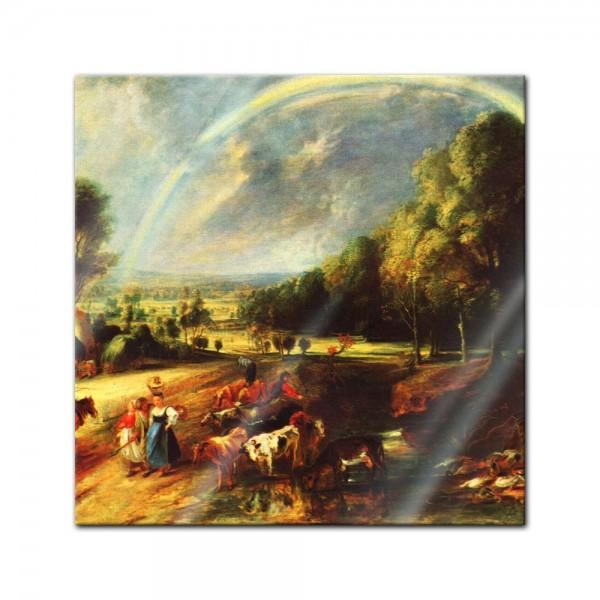 Glasbild Peter Paul Rubens - Alte Meister - Landschaft mit dem Regenbogen