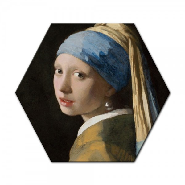 SALE Leinwandbild - Jan Vermeer Das Mädchen mit dem Perlenohrgehänge - 40x46 cm Sechseck