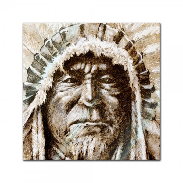 Glasbild - Indianer IV, Tattoo Art
