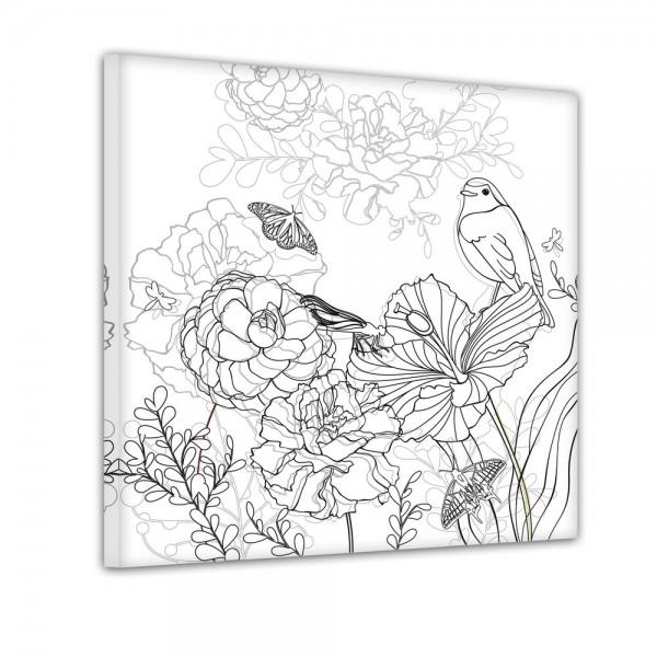 Blumen Vogel Schmetterlinge - Ausmalbild