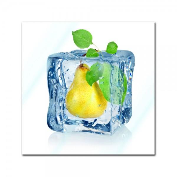 Glasbild - Eiswürfel Birne