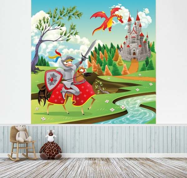selbstklebende Fototapete - Kinderbild - Ritter und Drachen