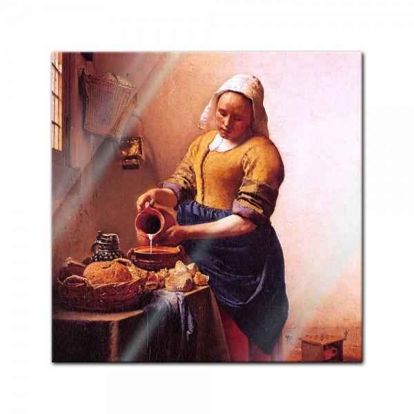 Glasbild Jan Vermeer - Alte Meister - Dienstmagd mit Milchkrug