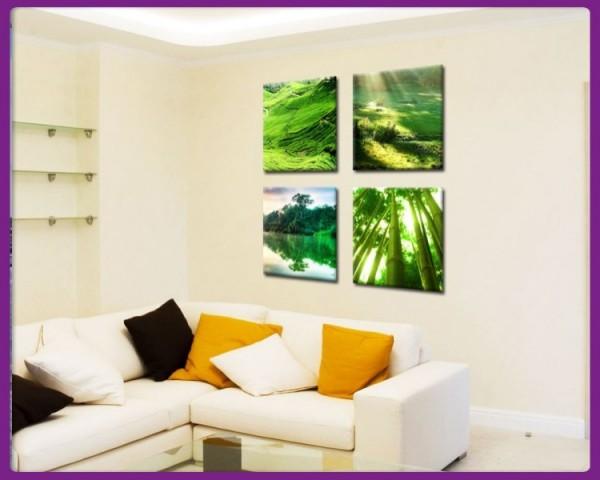 Leinwandbild Set 4 teilig grüne Landschaften