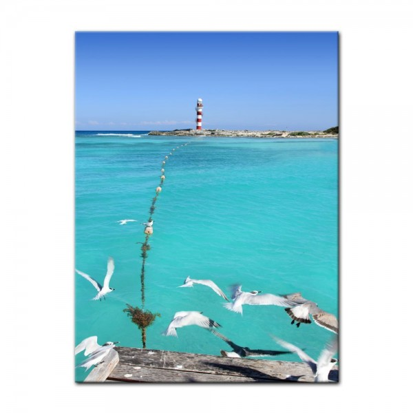Leinwandbild - Leuchtturm in Puerto Morelos Mayan Riviera - Mexiko