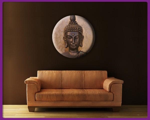 Leinwandbild Rund - Buddha