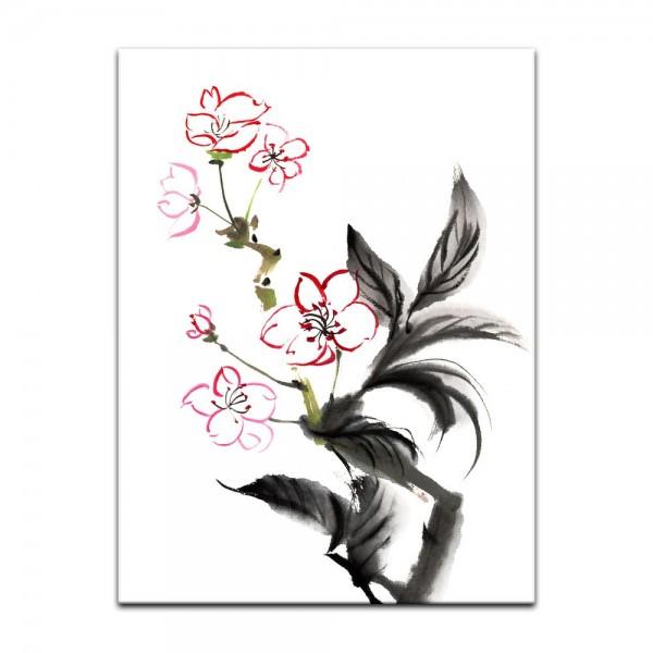 Leinwandbild - Aquarell - Chinesische Blume