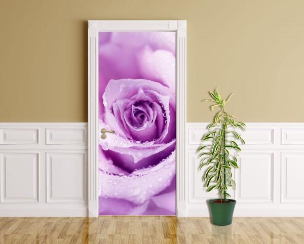 Türaufkleber - Rose mit Wassertropfen