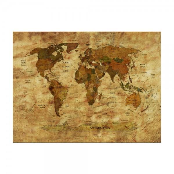 Leinwandbild - Weltkarte retro II farbig