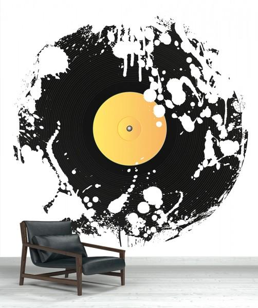 SALE Fototapete - Grunge Schallplatte - 300 cm x 300cm - farbig