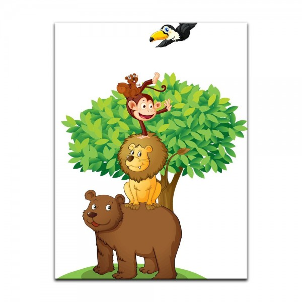 Leinwandbild - Kinderbild - Baum mit Tieren II