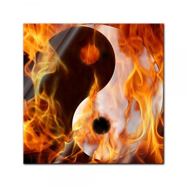 Glasbild - Ying Yang Feuer