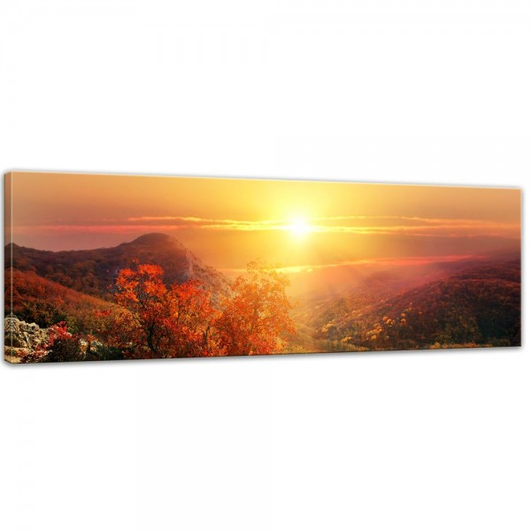 SALE Leinwandbild - sonnige Herbstlandschaft - 90x30 cm