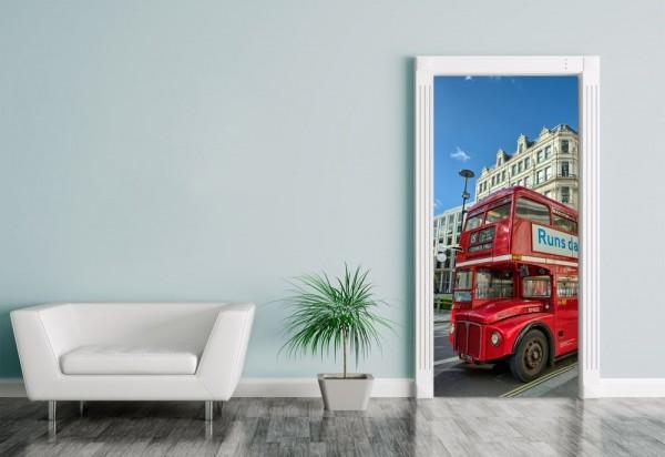 Türaufkleber Alter Doppeldeckerbus in London - UK II