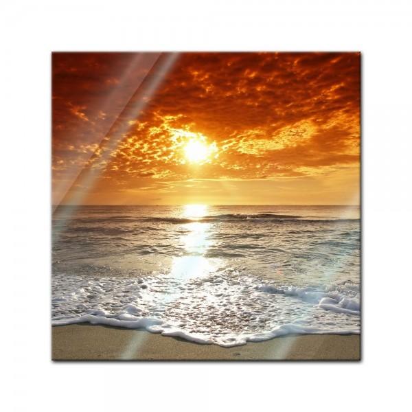 Glasbild - Sonnenuntergang in Korsika