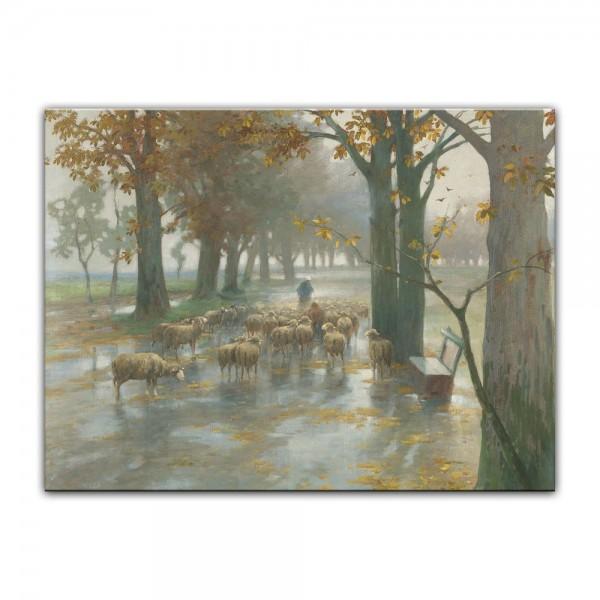 Leinwandbild - Adolf Kaufmann - Flock of Sheep with Shepherdess on a Rainy Day