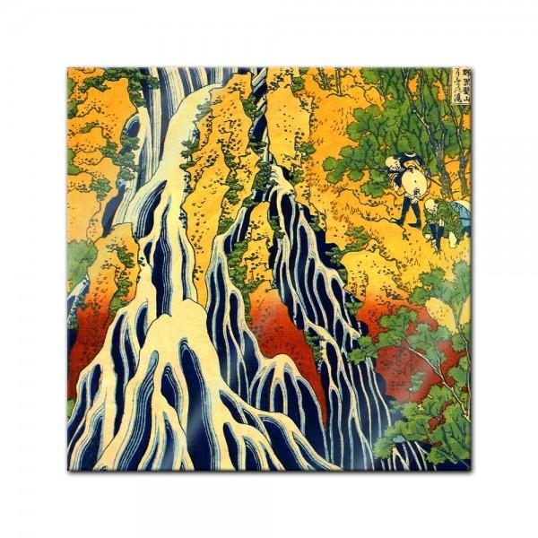 Glasbild Katsushika Hokusai - Alte Meister - Pilger beim Kirifuri Wasserfall