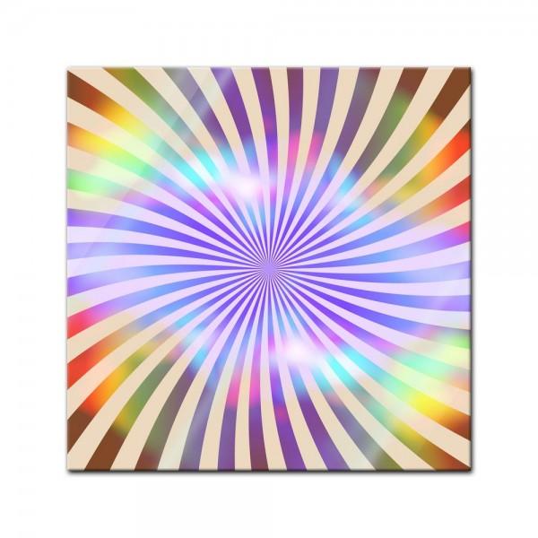 Glasbild - Regenbogenreihen retro