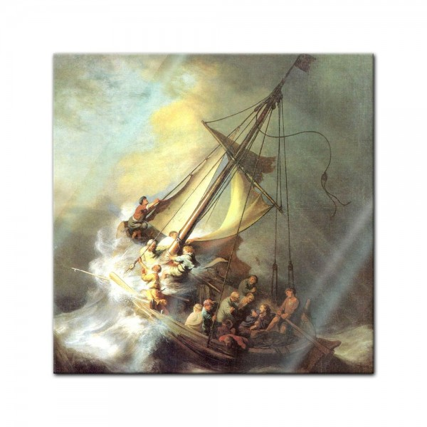 Glasbild Rembrandt - Alte Meister - Christus im Sturm auf dem See von Galilea