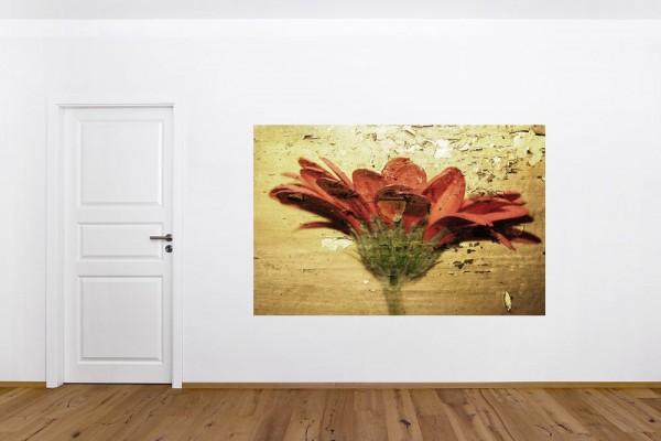 SALE Fototapete - Grunge - Blume - 200 cm x 130 cm - farbig