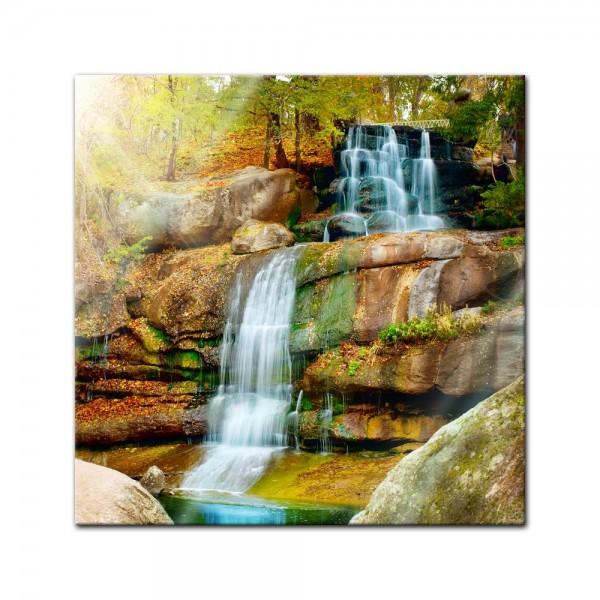 Glasbild - Wasserfall im Regenwald