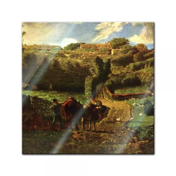 Glasbild Jean-François Millet - Alte Meister - Der Weiler Cousin bei Gréville
