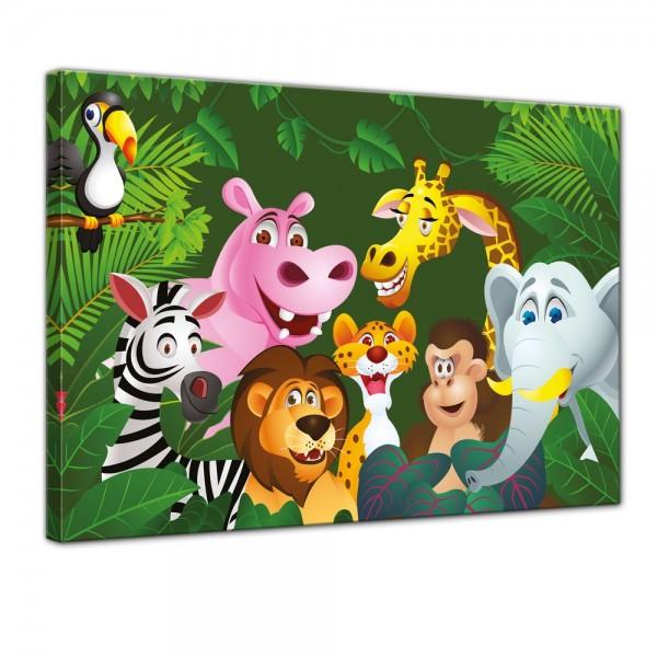 SALE Leinwandbild - Kinderbild Dschungeltiere Cartoon IV - 50x40 cm