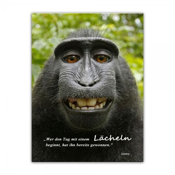 Leinwandbild mit Zitat - Wer den Tag mit einem Lächeln beginnt, hat ihn bereits gewonnen. (Cicero)