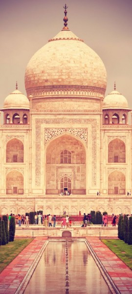 Türtapete selbstklebend Taj Mahal - Indien Vintage 90 x 200 cm Mausoleum Grabstätte Moschee Denkmal