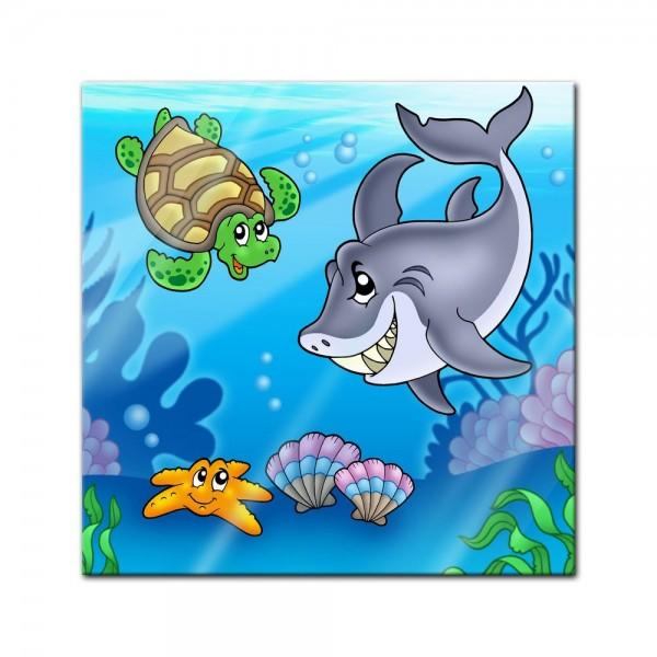 Glasbild - Kinderbild Unterwasser Tiere