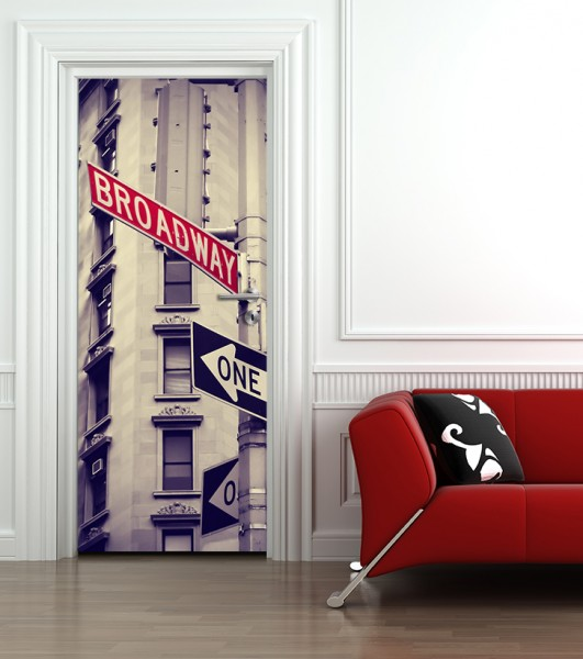 Türtapete selbstklebend Broadway Straßenschild Vintage 90 x 200 cm New York City Theater Schild Str