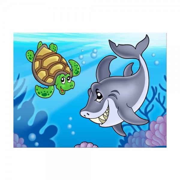 Leinwandbild - Kinderbild - Unterwasser Tiere