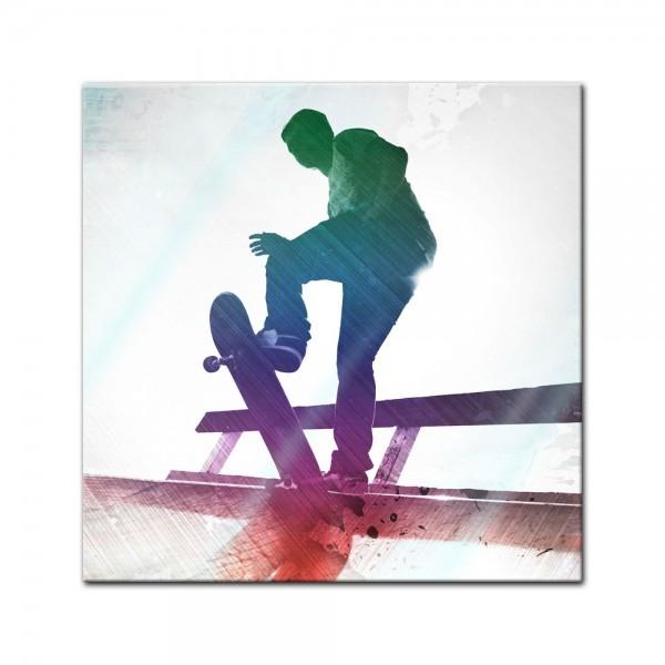 Glasbild - Grungy Skateboarder