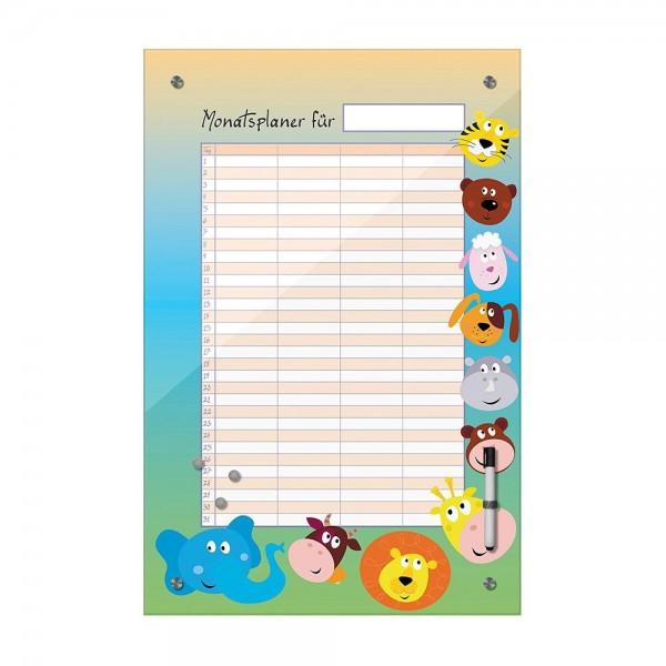 Memoboard - Monatsplaner für Kinder - Tierköpfe