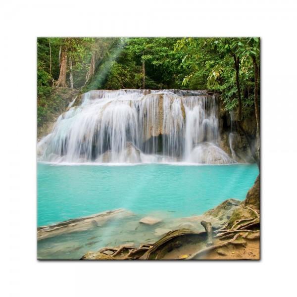 Glasbild - Dschungel Wasserfall in Thailand, Provinz Kanchanaburi