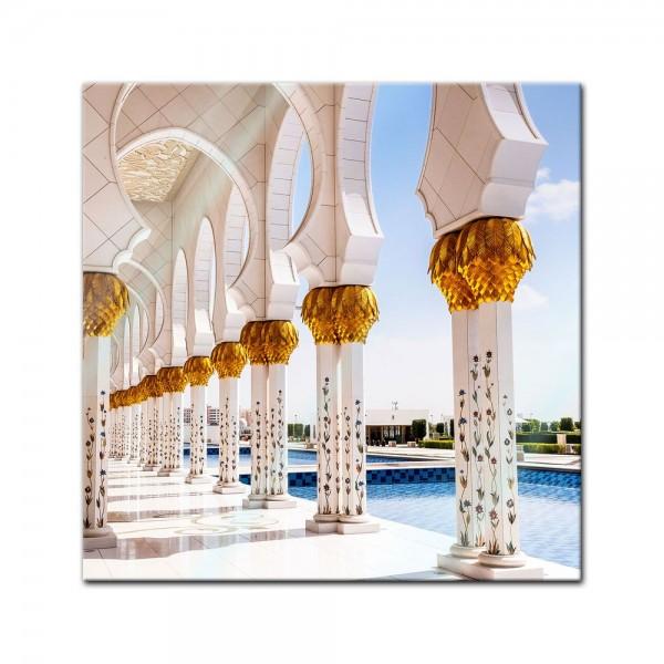 Glasbild - Weisse Moschee in Abu Dhabi